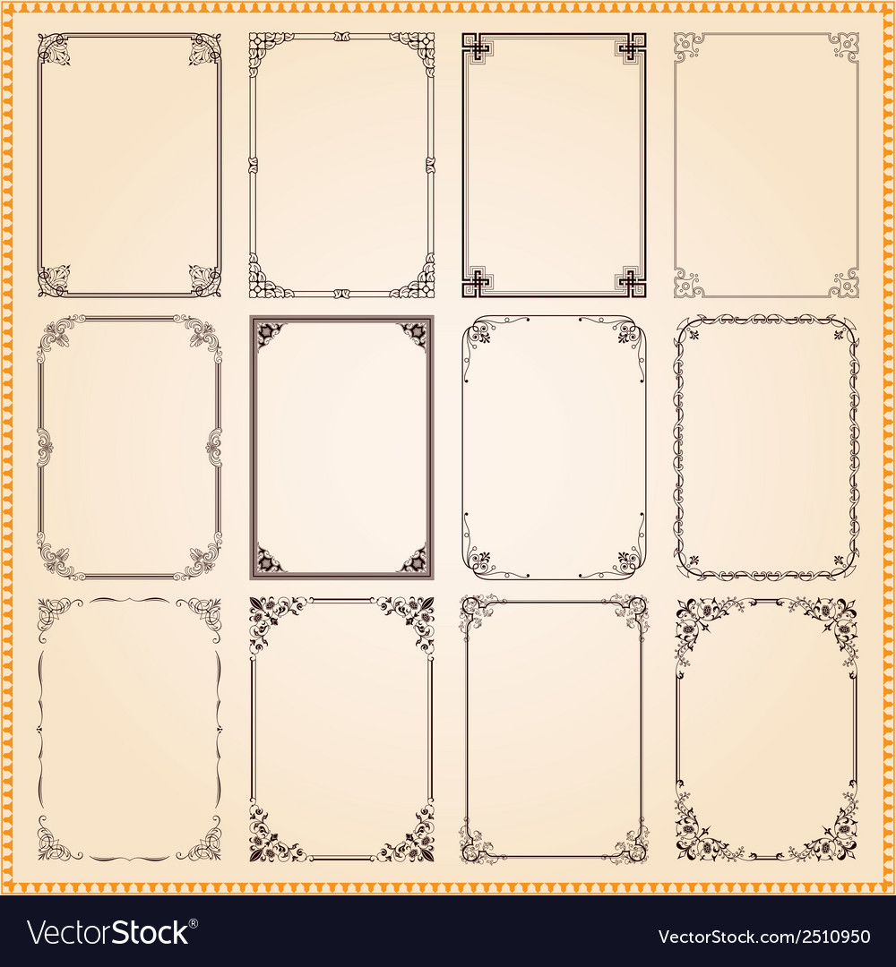 Decorative vintage frames and borders vector | Price: 1 Credit (USD $1)