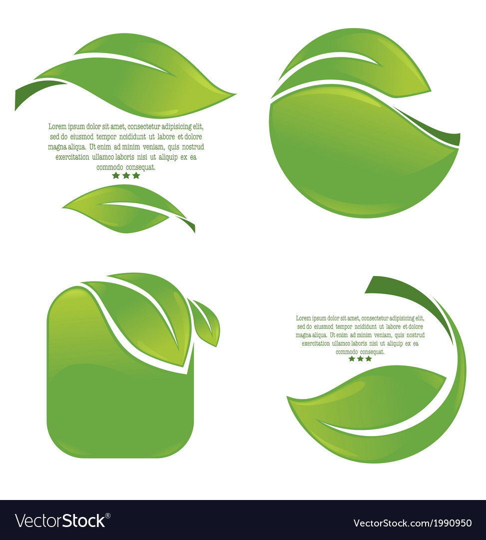 Green leaves frames vector | Price: 1 Credit (USD $1)