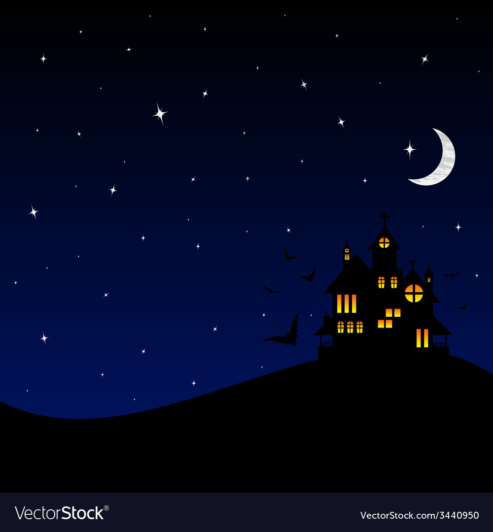 Halloween castle at night vector | Price: 1 Credit (USD $1)
