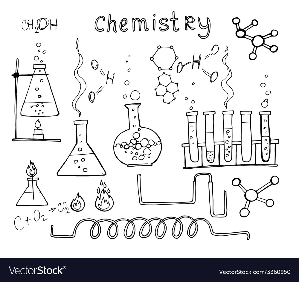 Hand drawn chemistry set vector | Price: 1 Credit (USD $1)