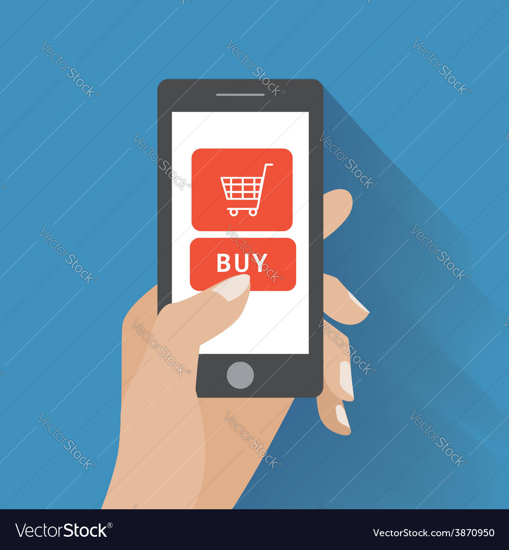 Hand holding smartphone with buy button vector | Price: 1 Credit (USD $1)