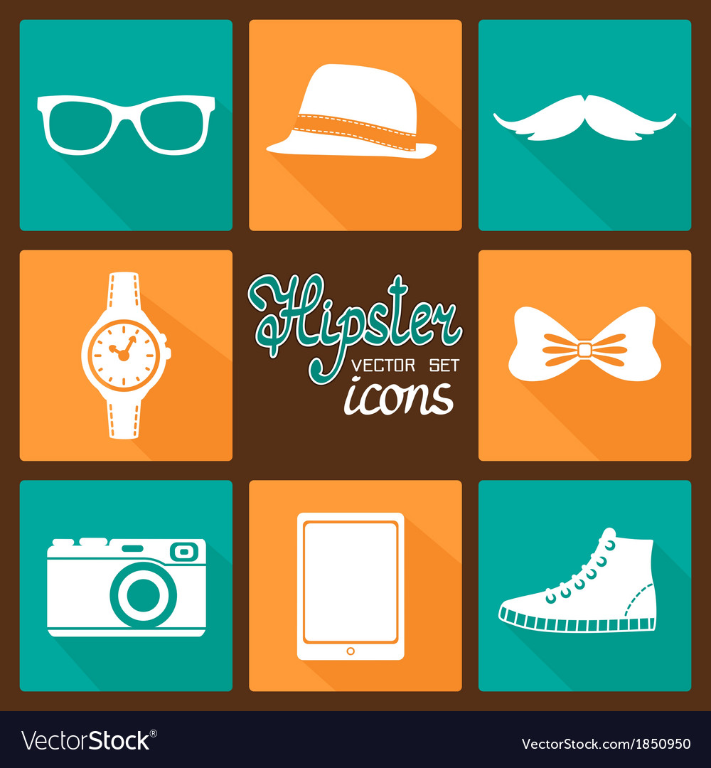 Hipster accessories pictograms set vector | Price: 1 Credit (USD $1)