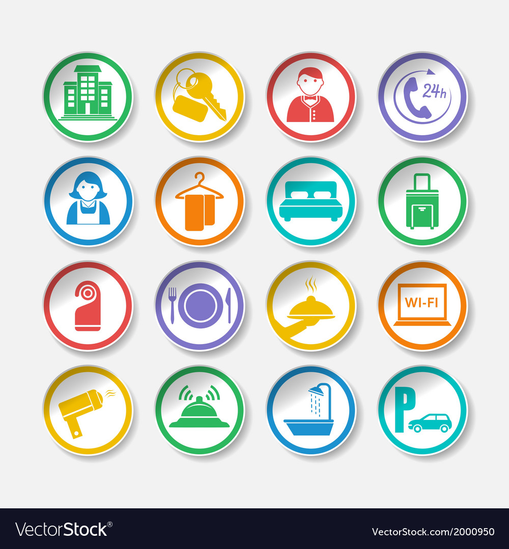 Hotel travel stickers vector   Price: 1 Credit (USD $1)