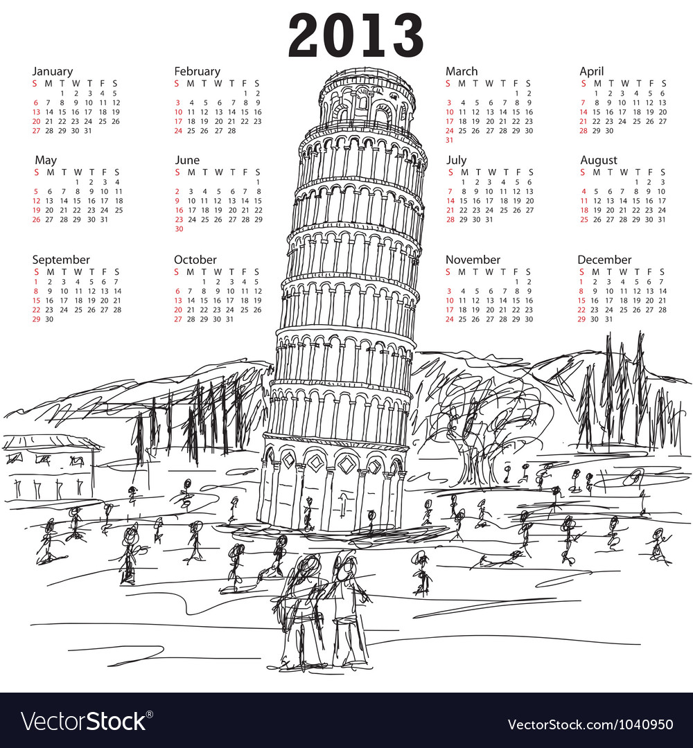 Leaning tower of pisa 2013 calendar vector | Price: 1 Credit (USD $1)