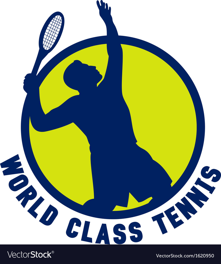 Tennis player silhouette serving vector | Price: 1 Credit (USD $1)