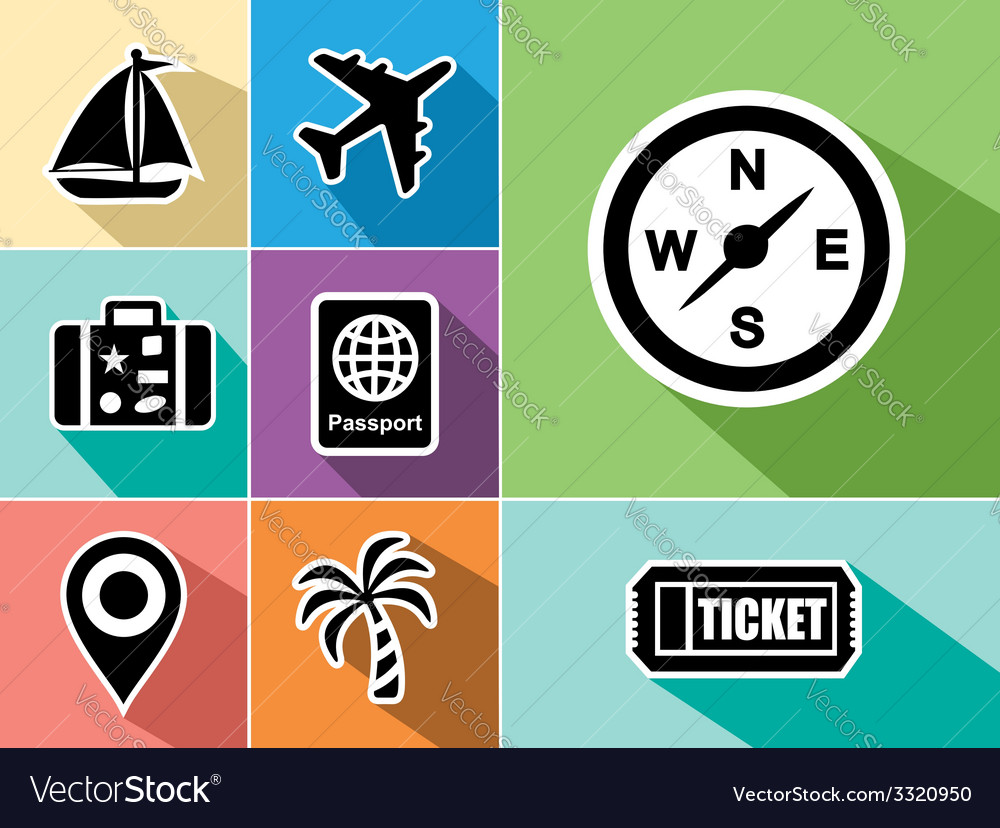 Travel abroad flat icons set design vector | Price: 1 Credit (USD $1)