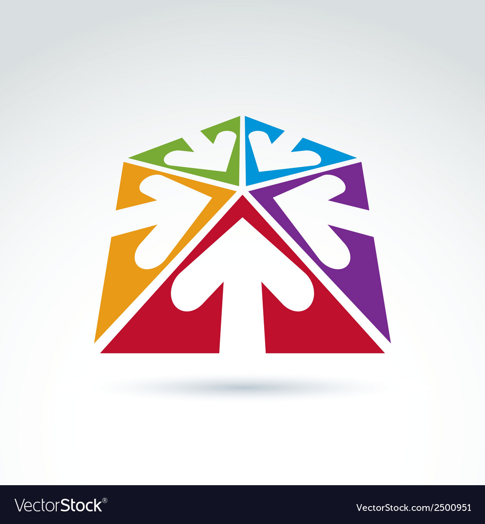 3d abstract emblem with five multidirectional vector   Price: 1 Credit (USD $1)