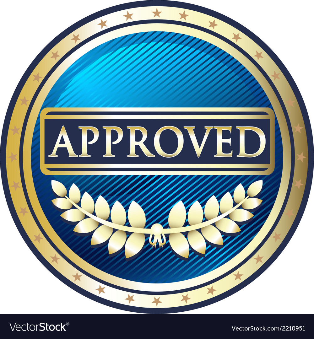 Approved blue label vector | Price: 1 Credit (USD $1)