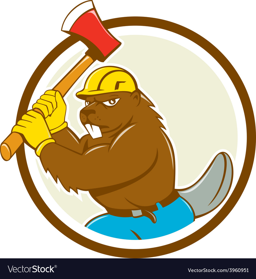 Beaver lumberjack wielding ax circle cartoon vector