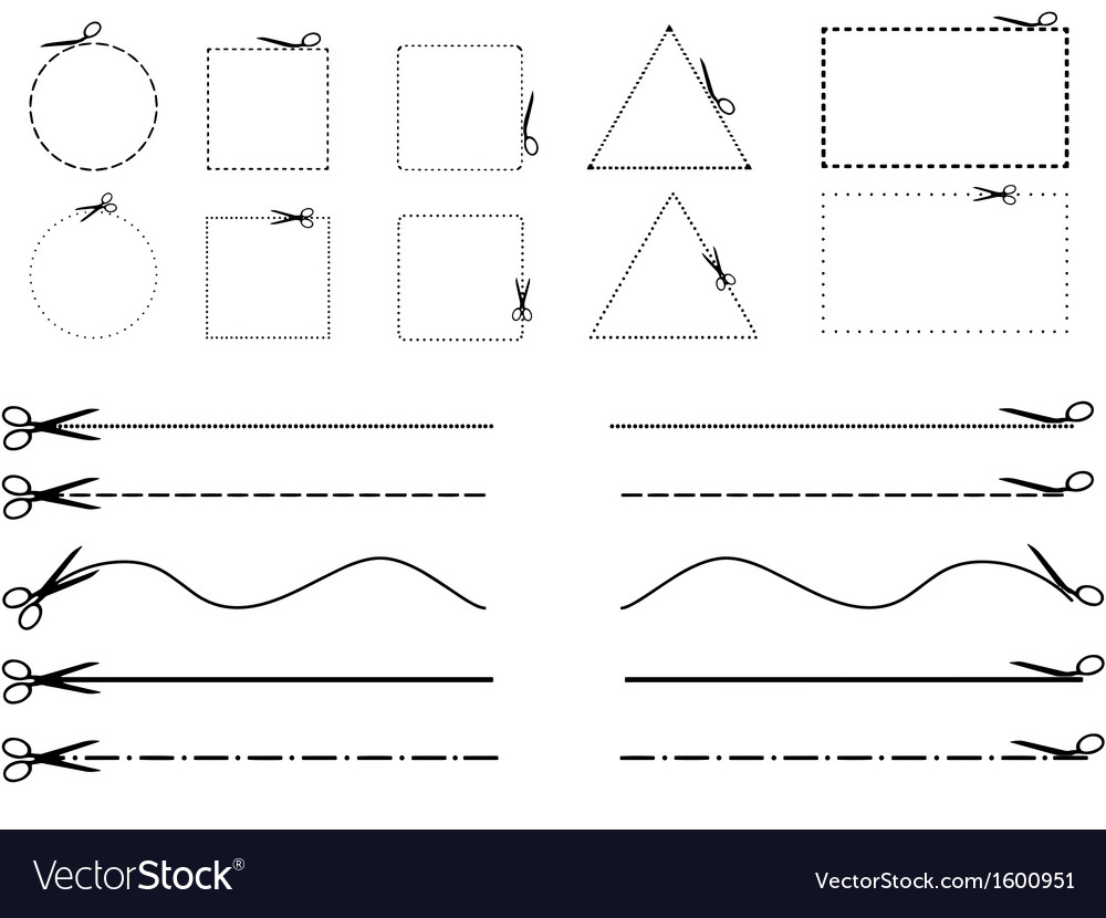 Cutting objects and lines vector | Price: 1 Credit (USD $1)