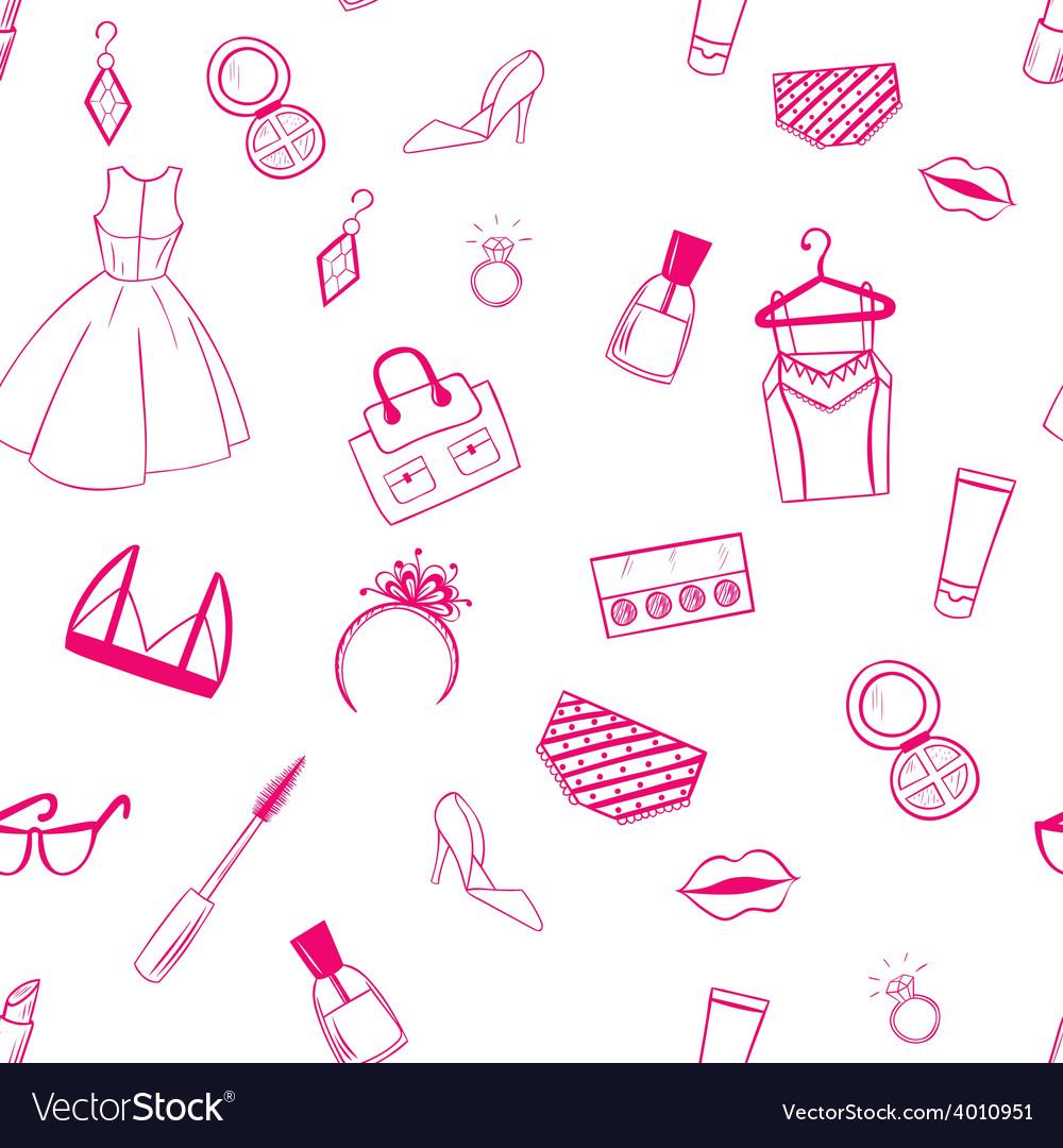 Fashion seamless pattern dress ear rings lipstick vector   Price: 1 Credit (USD $1)