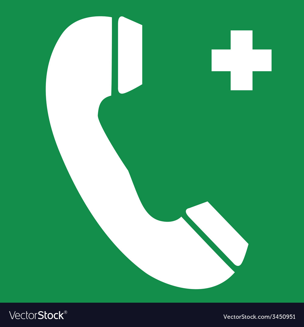 First aid telephone safety sign vector | Price: 1 Credit (USD $1)