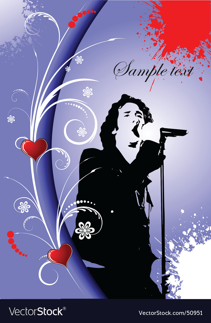 Greeting card with singer image vector   Price: 1 Credit (USD $1)