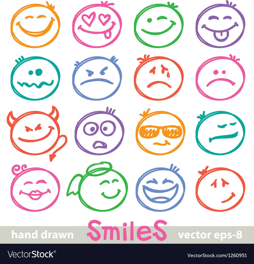 Hand drawn smiles vector | Price: 1 Credit (USD $1)