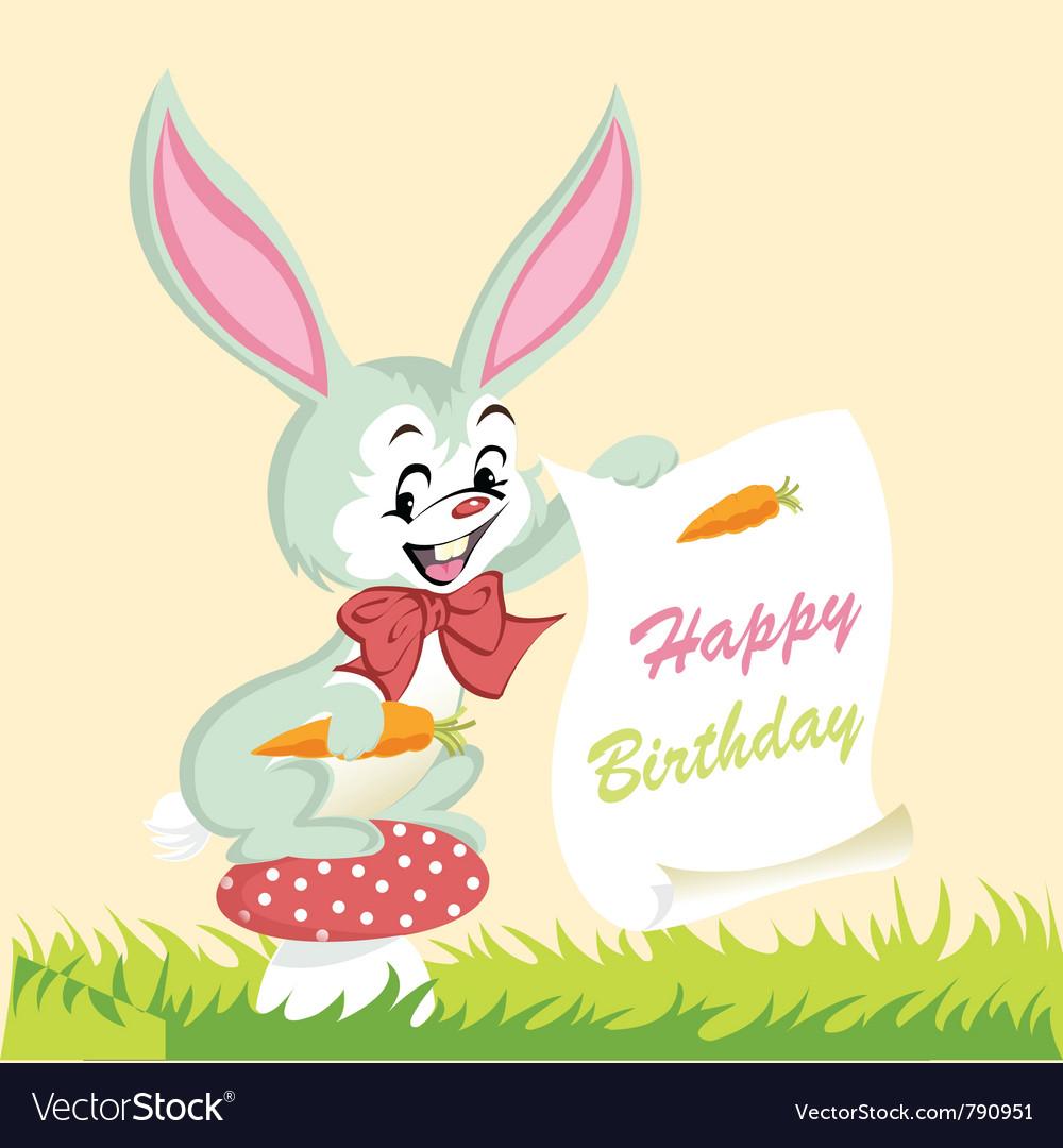 Happy birthday card cute bunny vector | Price: 1 Credit (USD $1)