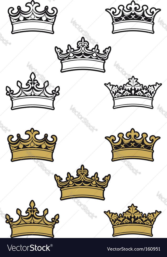 Heraldic crowns vector   Price: 1 Credit (USD $1)
