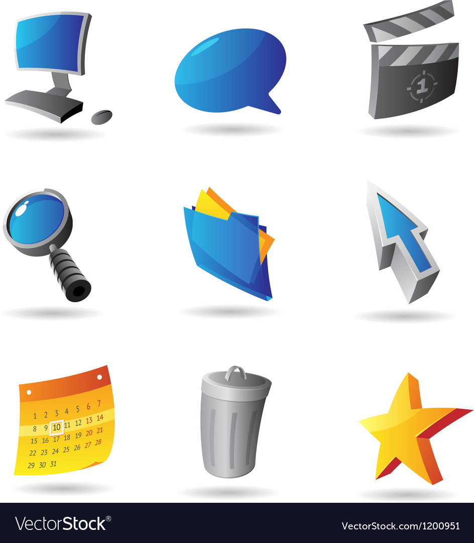 Icons for computer interface vector | Price: 1 Credit (USD $1)