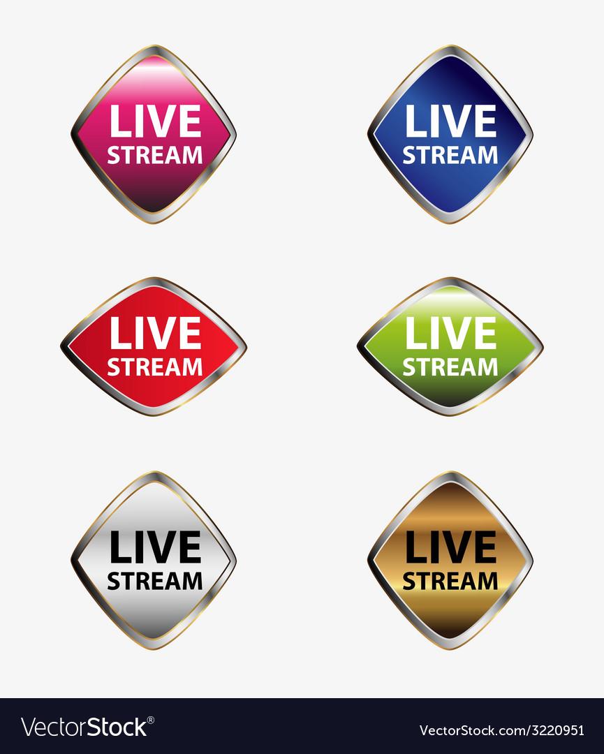 Live stream icon set vector | Price: 1 Credit (USD $1)