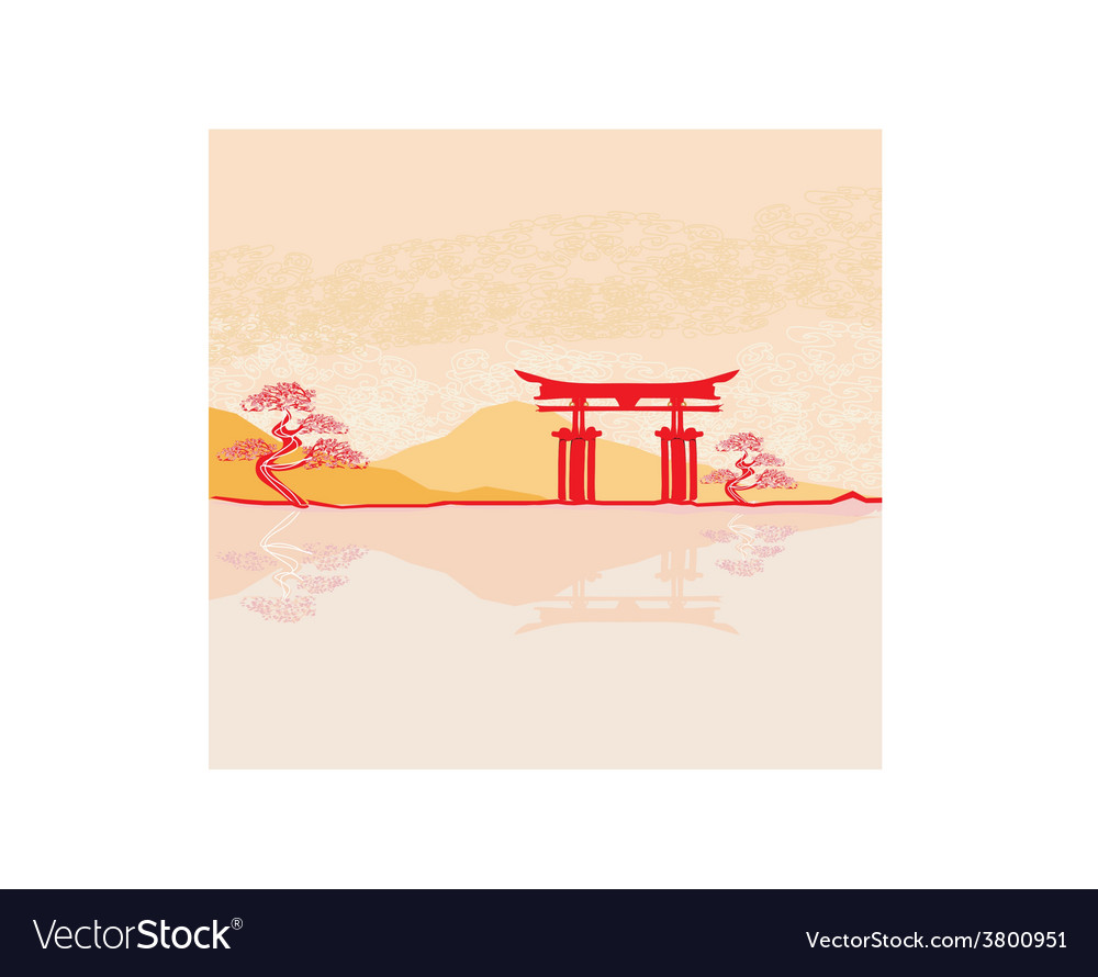 Miyajima gate at hiroshima vector | Price: 1 Credit (USD $1)