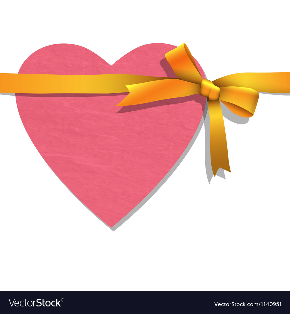 Paper heart with tied golden ribbon vector | Price: 1 Credit (USD $1)