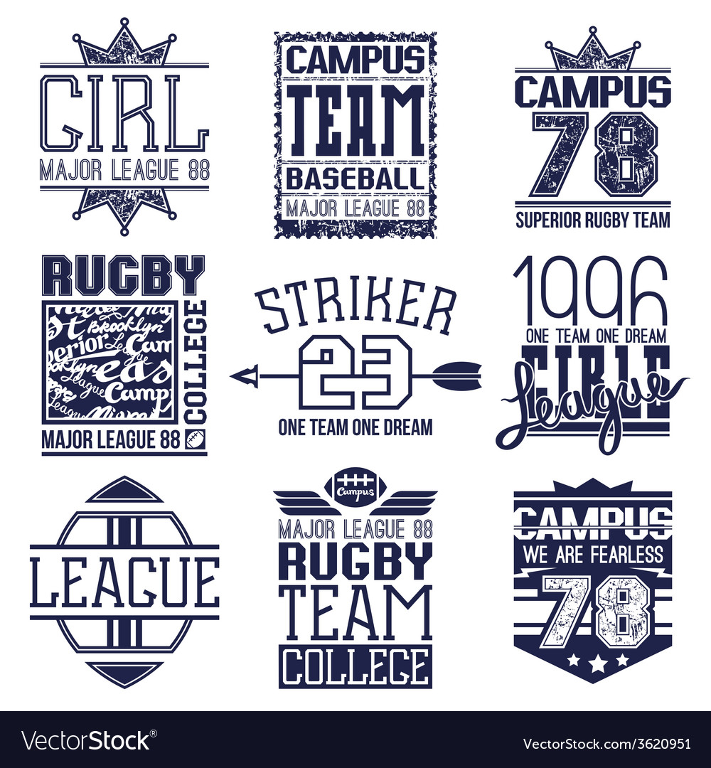 Rugby and baseball team college emblems vector | Price: 1 Credit (USD $1)