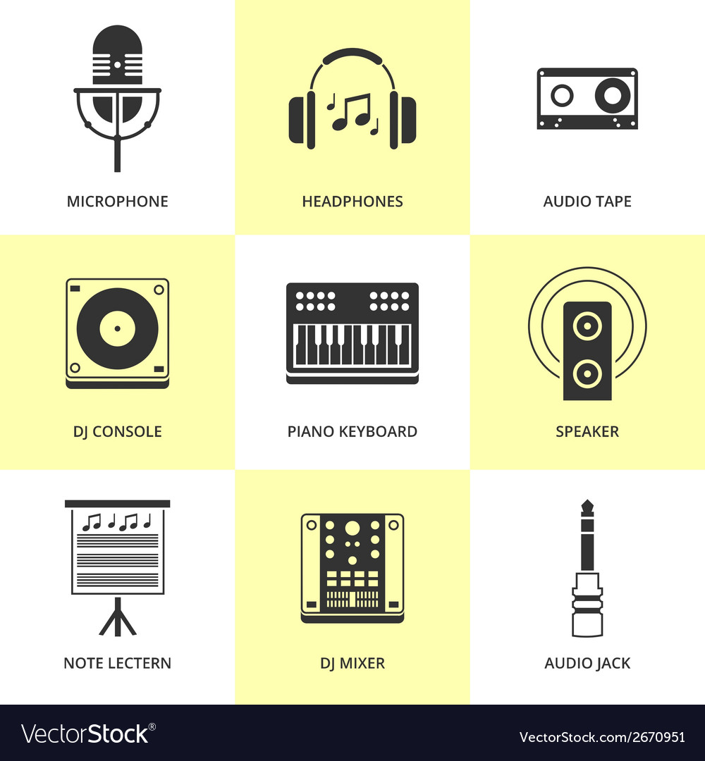 Set of black music and sound icons vector | Price: 1 Credit (USD $1)