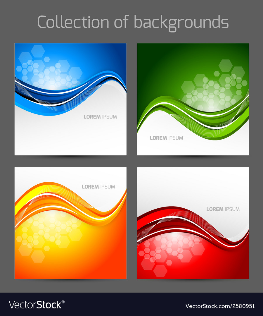 Set of wavy backgrounds vector | Price: 1 Credit (USD $1)