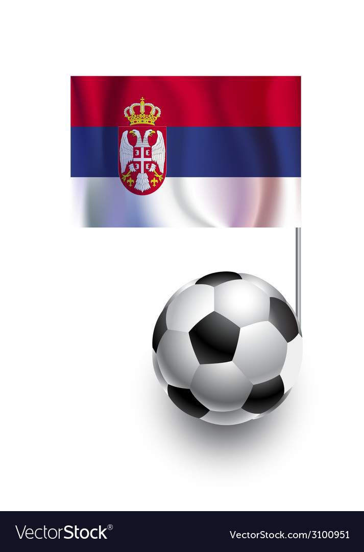 Soccer balls or footballs with flag of serbia vector | Price: 1 Credit (USD $1)