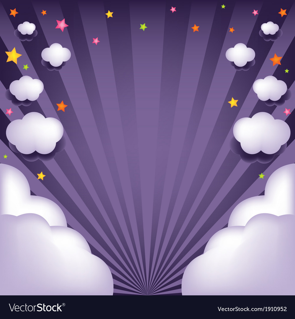 Background with clouds and stars vector | Price: 1 Credit (USD $1)
