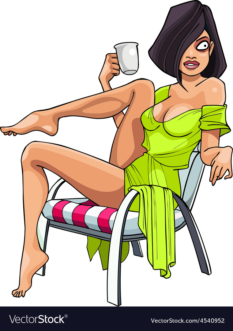 Cartoon sexy woman sitting in an armchair vector | Price: 3 Credit (USD $3)