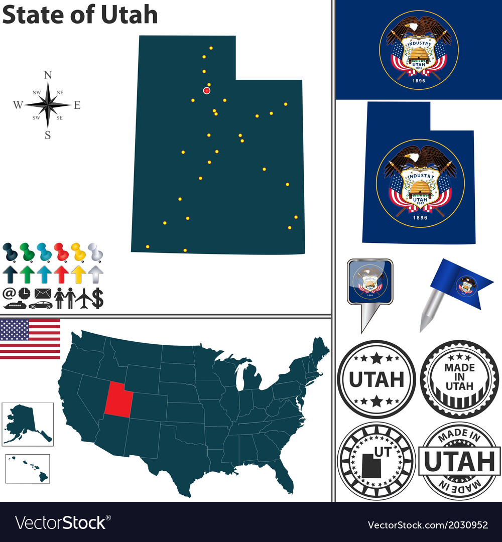 Map of utah vector | Price: 1 Credit (USD $1)
