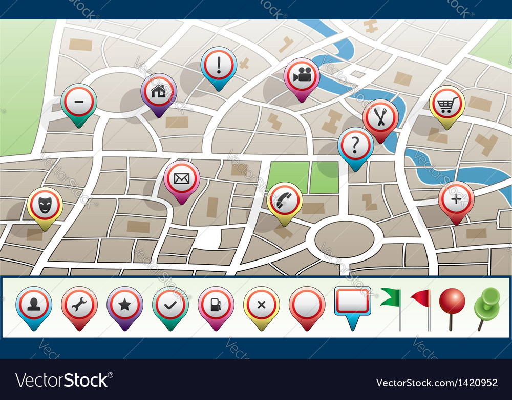 Map with gps icons vector | Price: 1 Credit (USD $1)