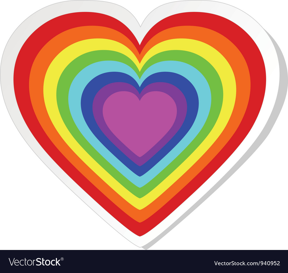 Rainbow heart sticker vector | Price: 1 Credit (USD $1)