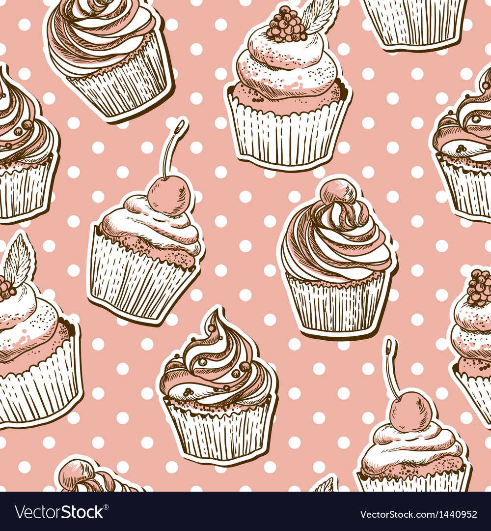 Seamless pattern with cakes vector | Price: 1 Credit (USD $1)