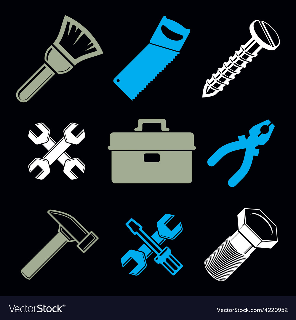 Set of 3d detailed tools repair theme stylized vector | Price: 1 Credit (USD $1)
