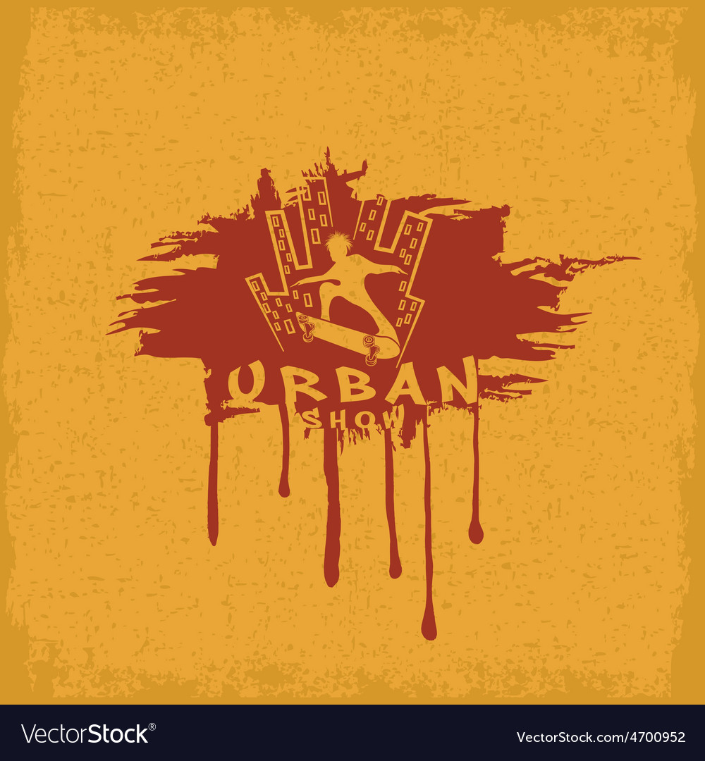 Skateboarder make trick on the background of city vector | Price: 1 Credit (USD $1)