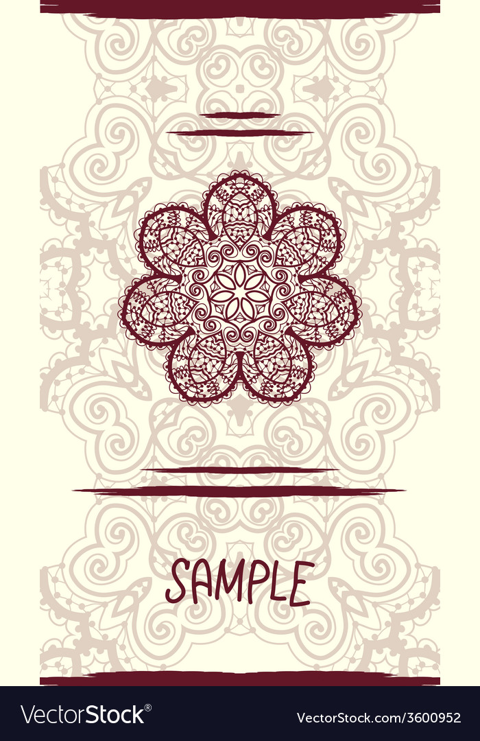 Vertical wedding card with ornate mandala floral vector | Price: 1 Credit (USD $1)