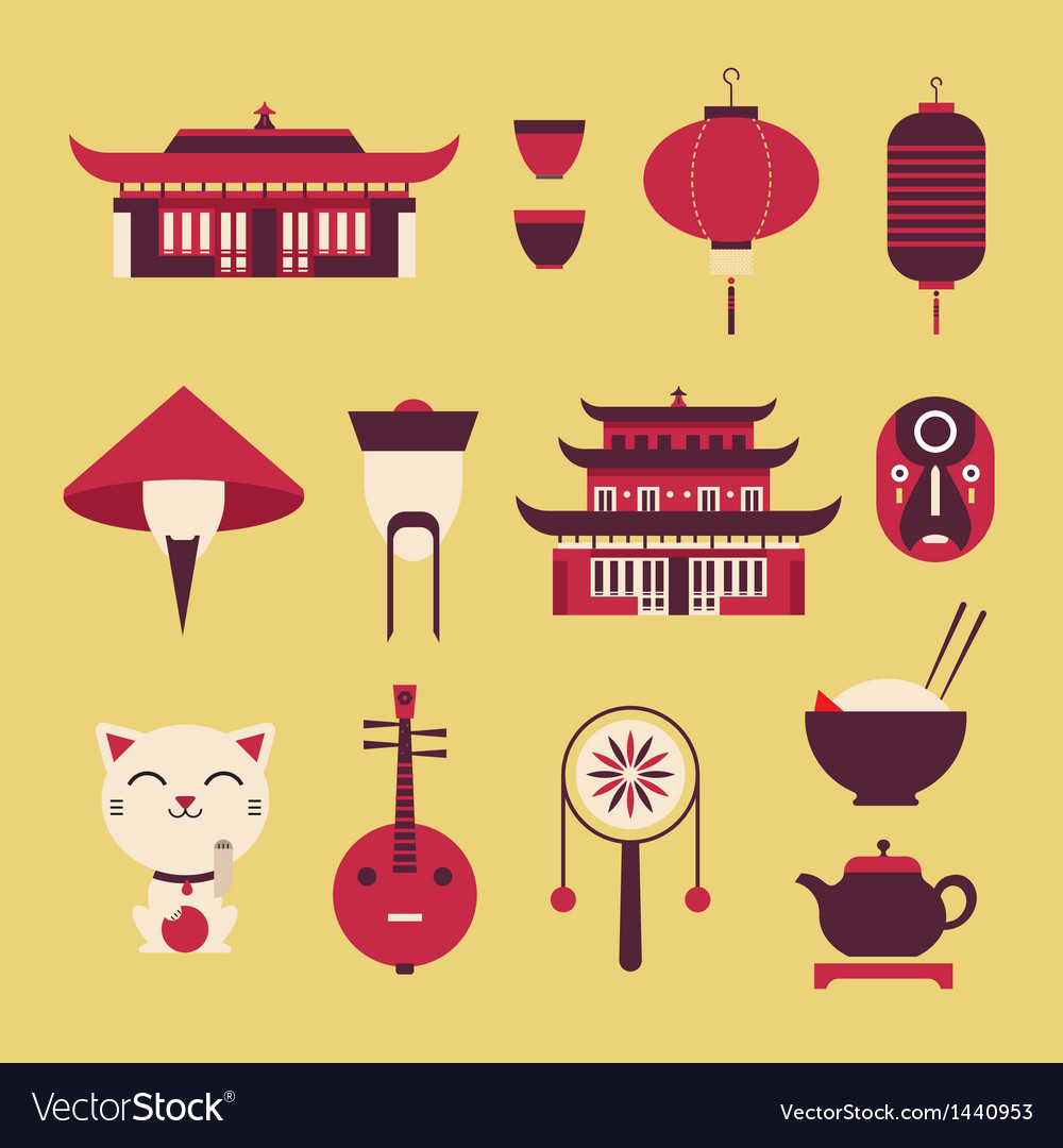 Chinese travel icons vector | Price: 1 Credit (USD $1)