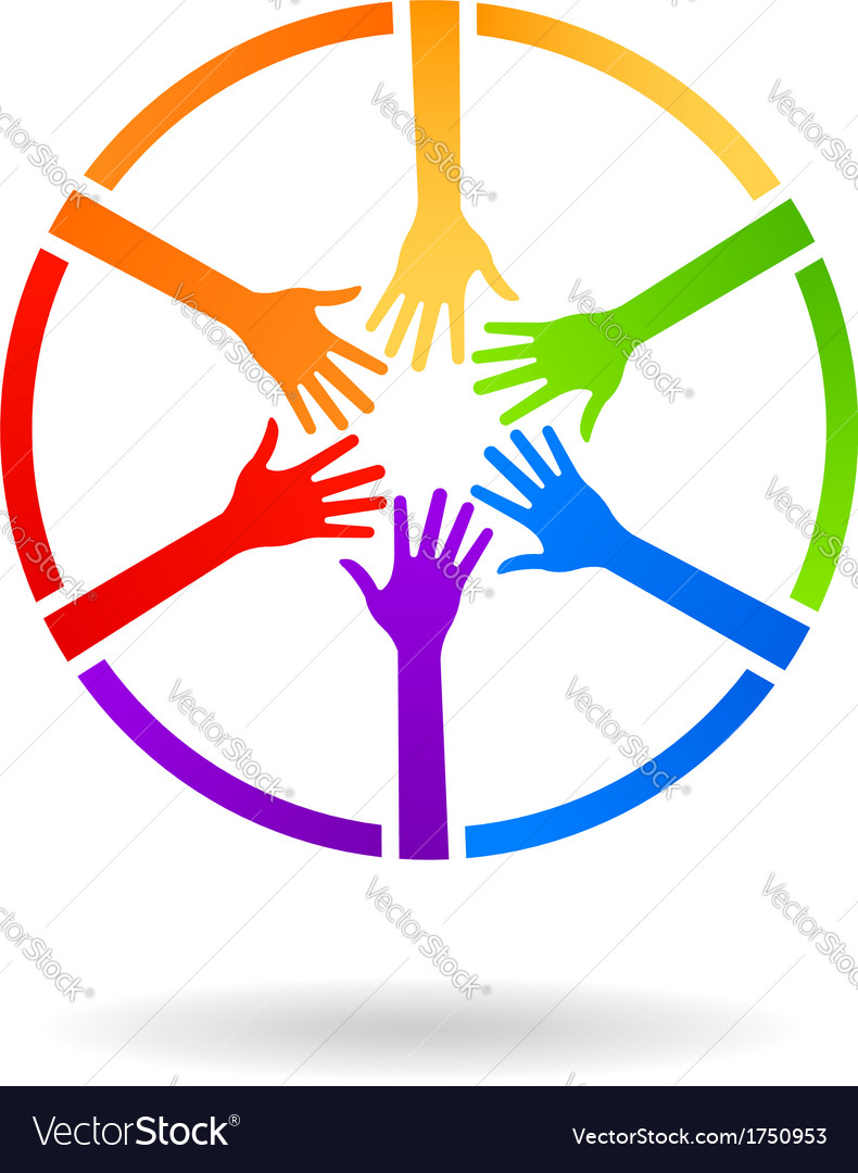 Circle team hands logo vector | Price: 1 Credit (USD $1)