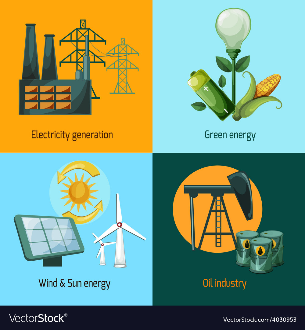 Energy icon set vector | Price: 1 Credit (USD $1)