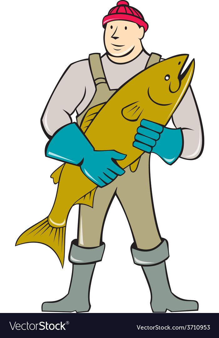 Fishmonger standing salmon fish cartoon vector | Price: 1 Credit (USD $1)
