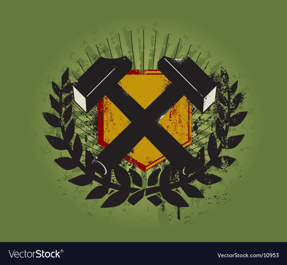 Hammer emblem vector | Price: 1 Credit (USD $1)