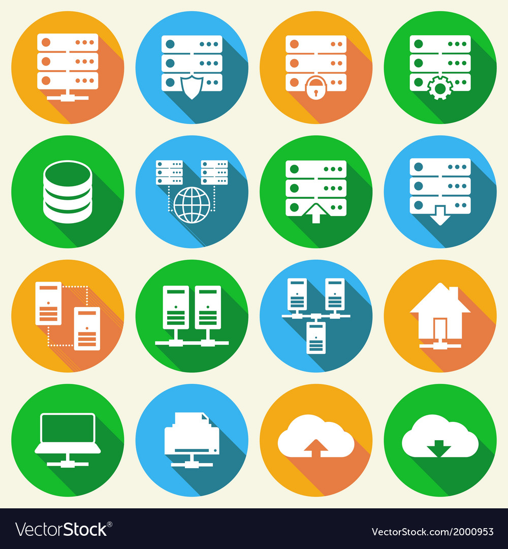 Hosting technology icons set vector | Price: 1 Credit (USD $1)