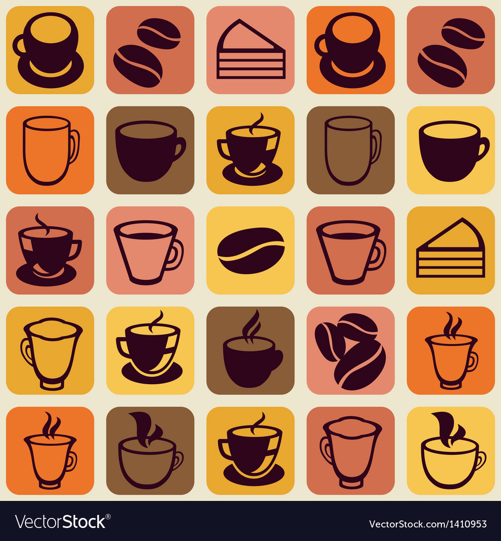 Seamless pattern with tea and coffee cups vector   Price: 1 Credit (USD $1)