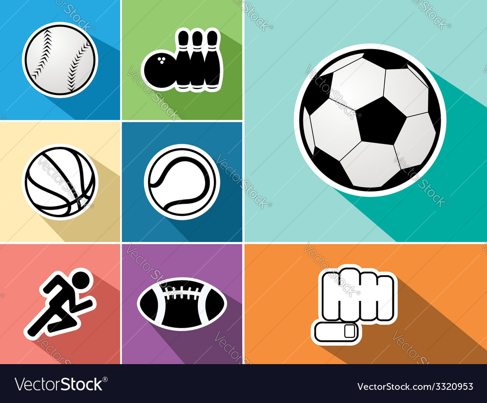 Sports flat icons set vector | Price: 1 Credit (USD $1)