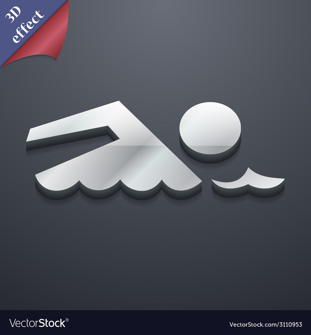 Swimming icon symbol 3d style trendy modern design vector | Price: 1 Credit (USD $1)