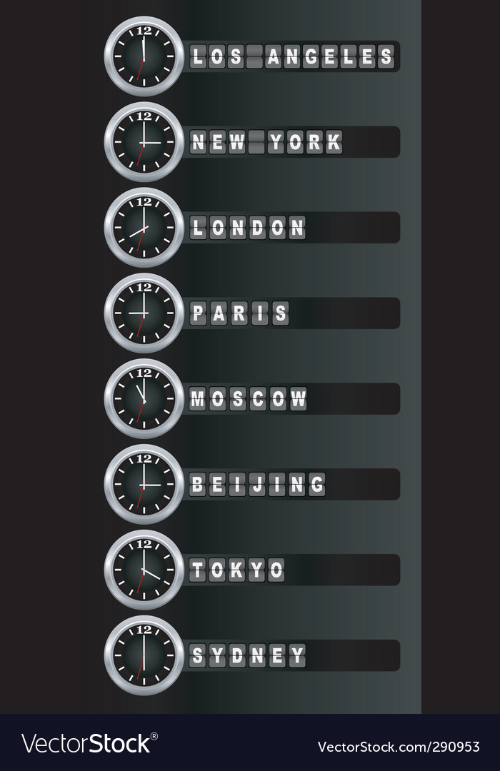 Timezone clock vector | Price: 1 Credit (USD $1)