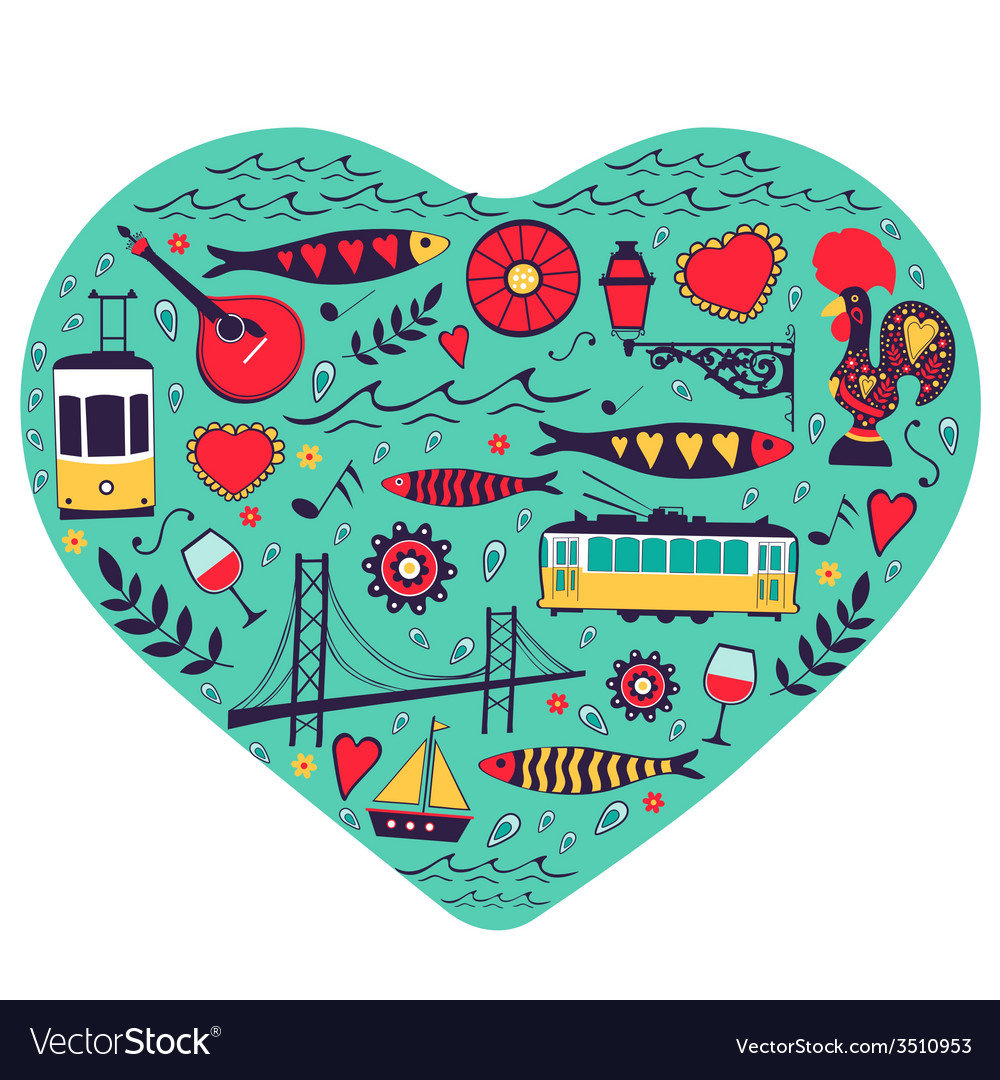 Travel concept card of love for lisbon - heart vector | Price: 1 Credit (USD $1)