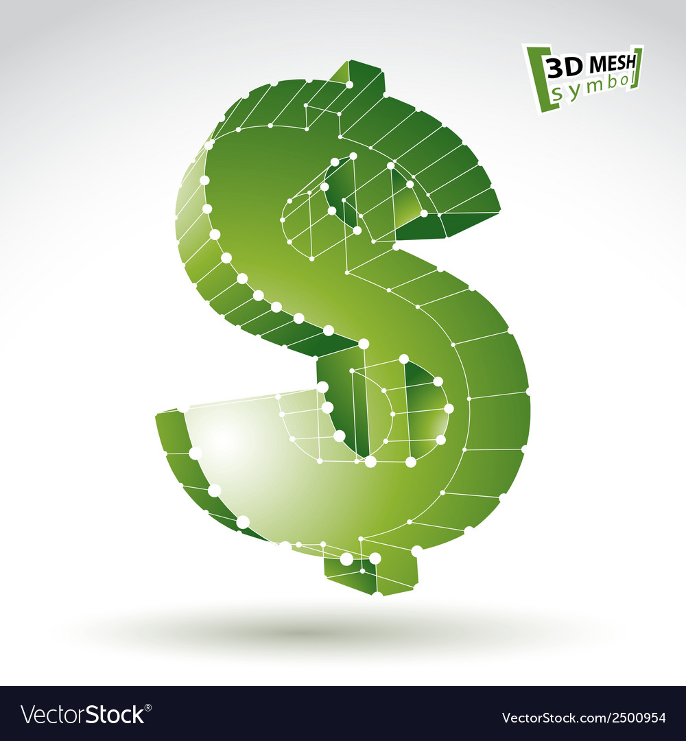 3d mesh stylish web green dollar sign isolated on vector | Price: 1 Credit (USD $1)