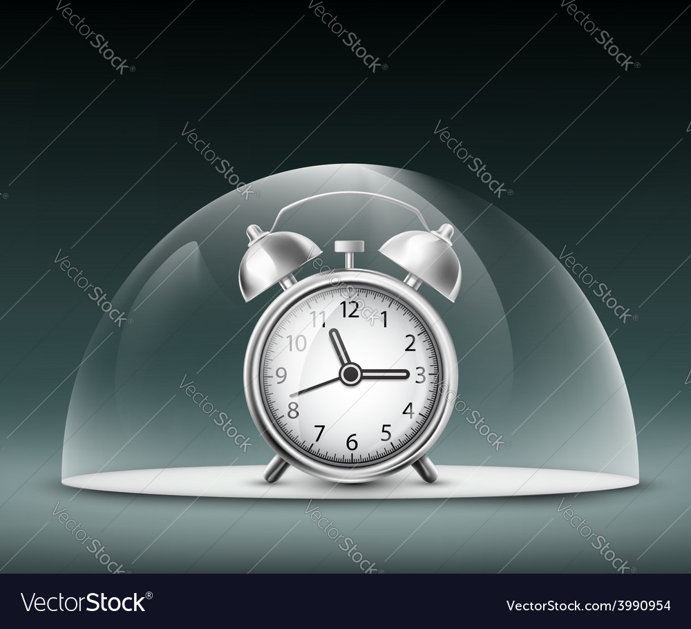Alarm clock under a glass dome vector | Price: 1 Credit (USD $1)